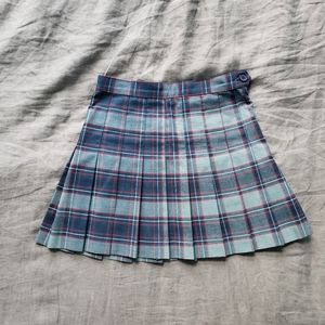 American Apparel Blue Plaid Pleated Skirt Small